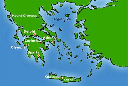 Ancient Map Greece States Sparta Greek Cities