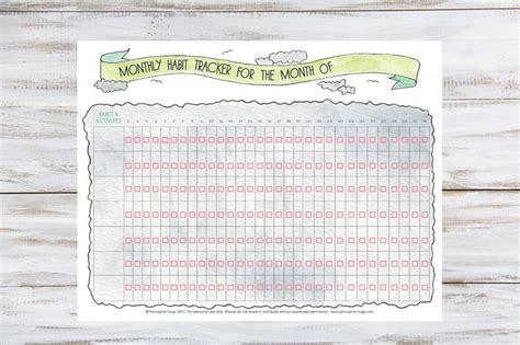 monthly habit tracker printable porcupine hugs
