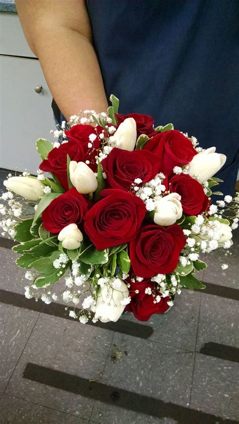 Red Roses White Tulips Babies Breath And Pitosporum