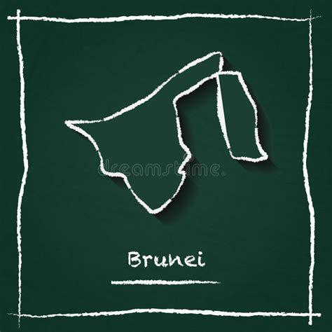 brunei chalk map  capital marked hand drawn stock