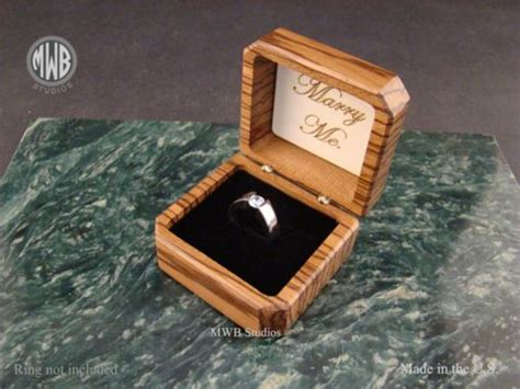 buy  hand  zebra wood engagement ring box