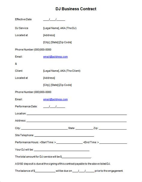 dj contract template 12 dj contract templates pdf doc free premium templates