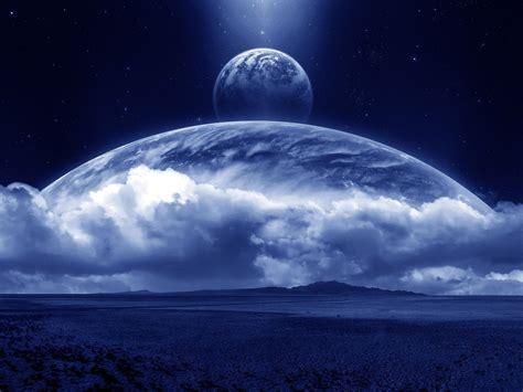 Облака Планеты поверхность космос звезды спутник. Обои для
