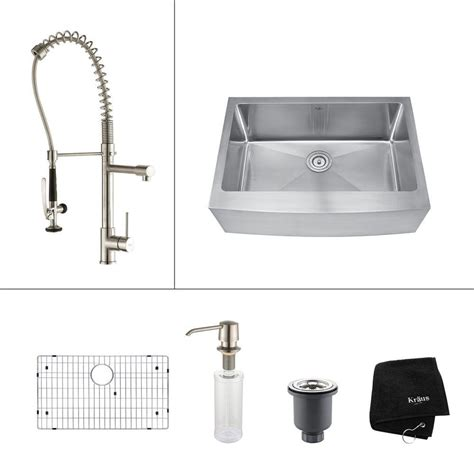 stainless steel single basin kitchen sink kraus all in one farmhouse apron front stainless steel 30 9416