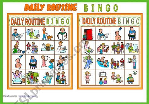 daily routine bingo game  cards list  vocabulary