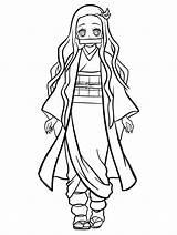 Slayer Demon Nezuko Coloring Kamado Printable sketch template