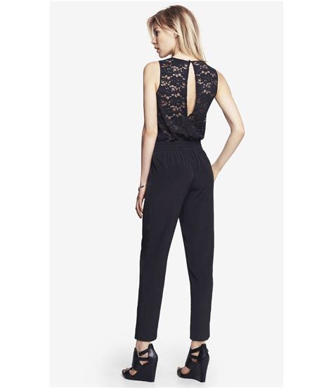 express jumpsuits express pieced lace jumpsuit in black lyst