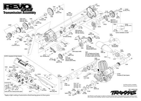 revo 3 3 53097 1 transmission assembly exploded view traxxas