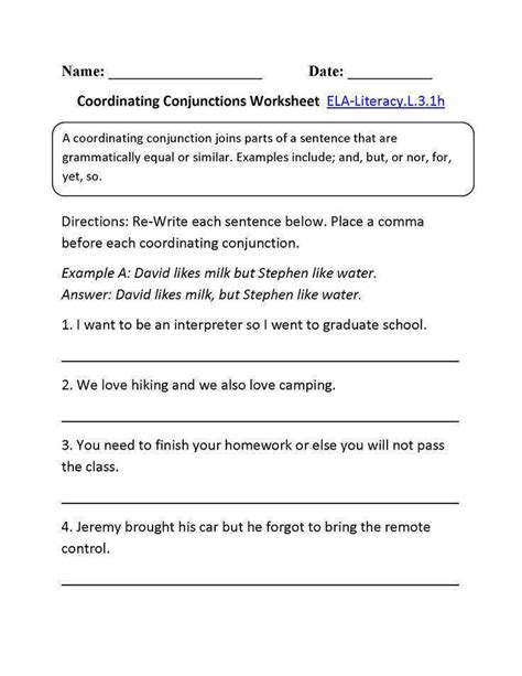 coordinating conjunctions worksheet homeschooldressage