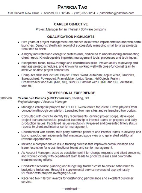 resume project manager for software company
