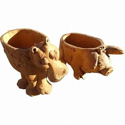 Clay Sculptures Bortin Lee Unusual Hippo Pig