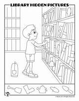 Library Hidden Printable Puzzles Activities Books Coloring Pages Word Shelves sketch template