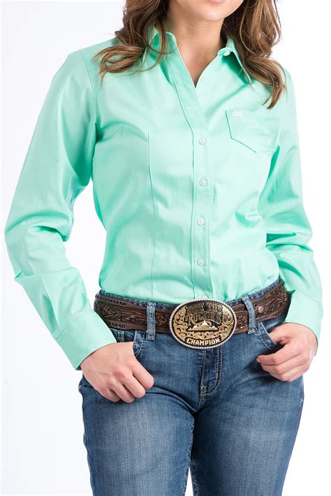 Cinch Jeans Womens Solid Green Button Down Western Shirt