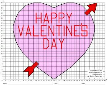 Valentine, Heart, Coordinate Drawing, Coordinate Graphing Tpt
