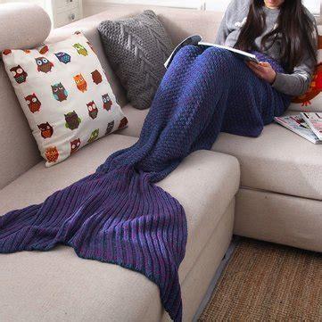 jeter de canape fil sirène tricot queue couverture crochet jeter sac