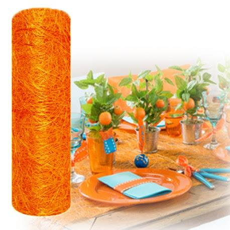 chemin de table orange chemin de table mariage en abaca orange abaca orange pas cher