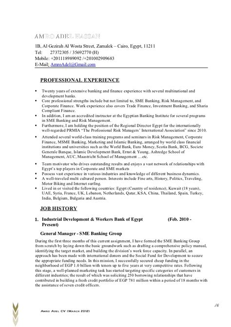 Sle Resume With Header And Footer by Resume Amro Adel March 2012 Detailed Honac 002 Header 1