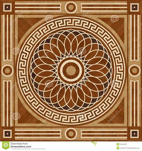 Medallion Design Parquet Floor, Wooden Seamless Texture