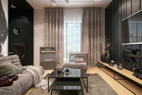 canape togo szare zasłony szara nowoczesna sofa czarne zdjęcie w