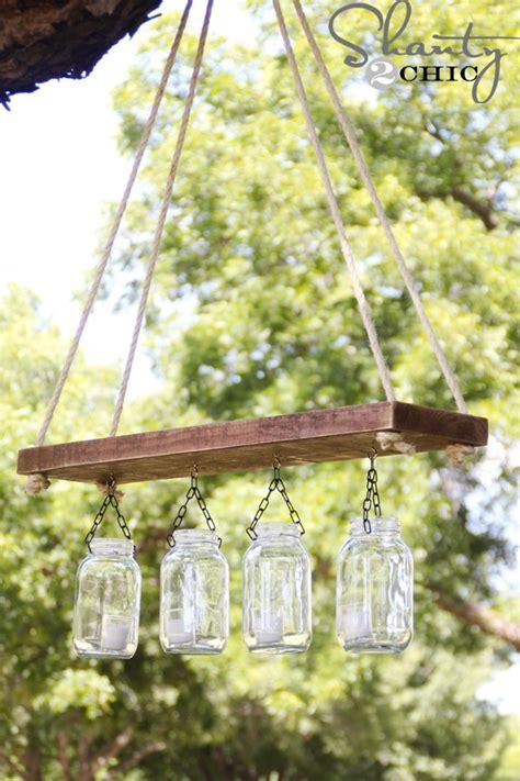 diy projects plank easy chandelier mason wood creative jar crafts outdoor jars garden hanging lighting craft rustic chandeliers lights light