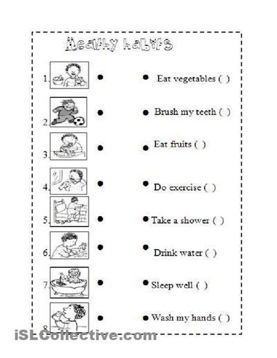 healthy habits for worksheets for health habits vocabulary healthy