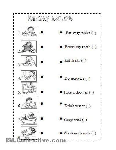 healthy habits for worksheets images for health
