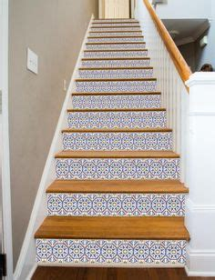 tile staircase in a combination of wood terracotta