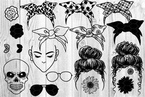 Click here and download the 4th of july messy bun hair sublimation graphic · window, mac, linux · last updated 2021 · commercial licence included Messy Bun Bandana Mom Life SVG Clip Art By Mandala Creator ...
