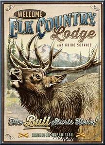 elk country lodge vintage tin sign american expedition