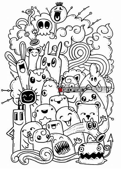Doodle Crazy Monster Drawing Hipster Doodles Drawn