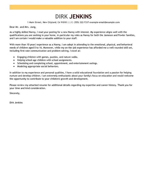 cover letter exle nanny covering letter exle