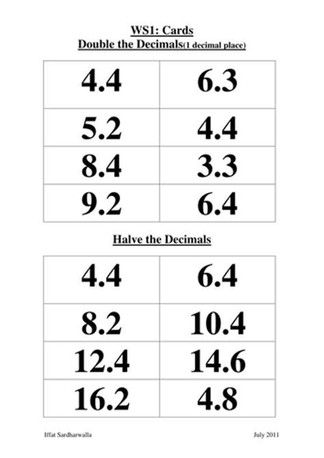 double and halve decimals by iffatsardharwalla teaching