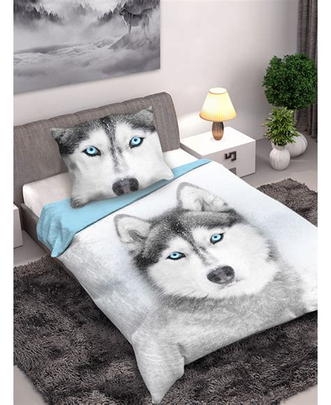 husky dog single cotton duvet cover  pillowcase set