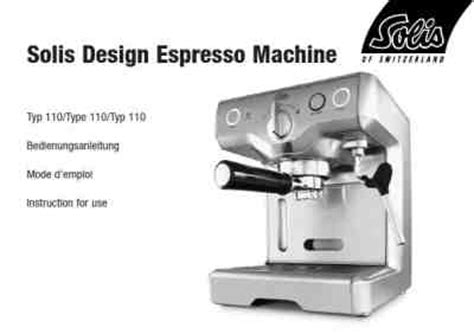 Solis Design Espressomachine Type 110 by Solis Design 110 Coffee Maker Manual For Free