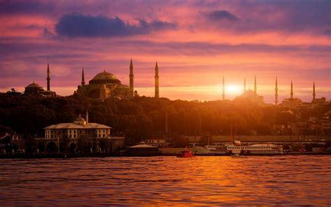 wallpaper ship sunset sea city cityscape bay