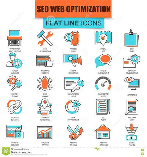 seo website optimization set of thin line icons search engine optimization tools