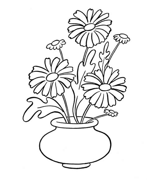 flower vase coloring simple flower coloring page coloring home