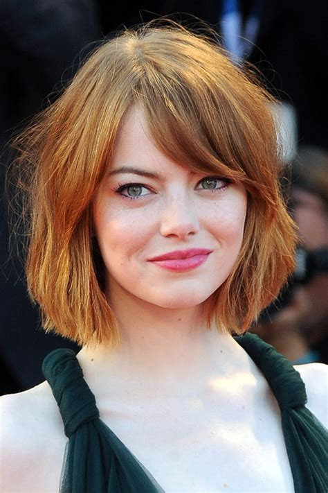 emma stone straight bob sideswept bangs hairstyle steal  style