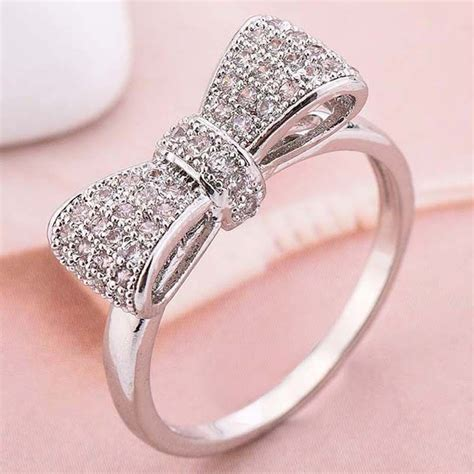 women wedding rings women fashion 925 silver white sapphire bow ring wedding 1458