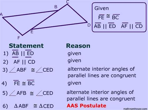 Angle Angle Side Postulate For Proving Congruent Triangles