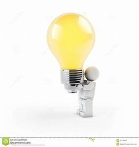 3d Man Holding A Light Bulb On White Background Stock ...