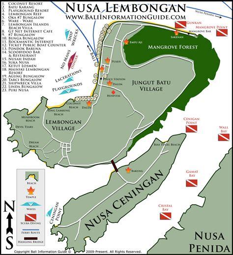 nusa lembongan map bali information guide