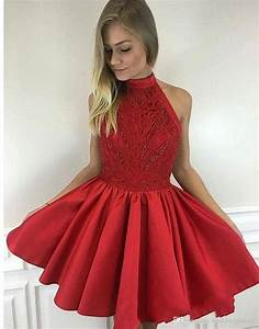 Newest Cute Mini Short Red Homecoming Dresses High Neck ...