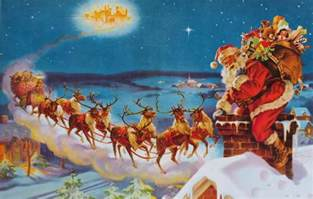 vintage santa s christmas sleigh reindeer on rooftop ebay