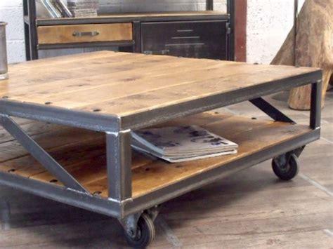table basse industrielle metal et bois table basse industrielle loft meuble de style industriel bois et acier sur mesure micheli design