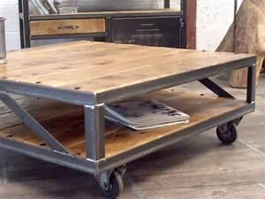 Table Basse Industrielle Carrée : table basse industrielle loft meuble de style industriel bois et acier sur mesure micheli design ~ Teatrodelosmanantiales.com Idées de Décoration
