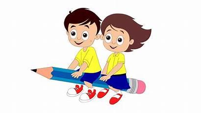 Kindergarten Clipart Writing Children Transparent Clip Child