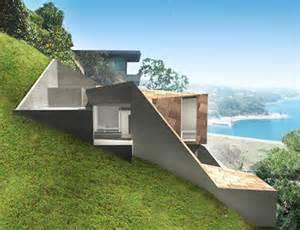 homes built into hillside setbacks zoning shaped this sweet modern hillside home