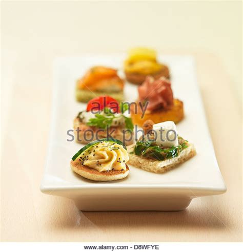 canape aperitif finger food tray stock photos finger food tray stock