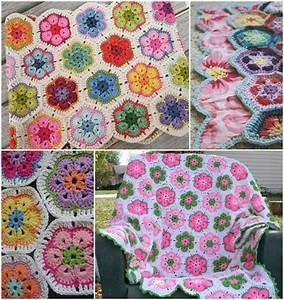 Wonderful DIY Crochet Pretty Hexagon Blanket with Free Pattern